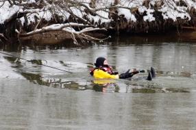 Brandweer gaat water in voor ijskoude operatie in Grave: vastgevroren eend bevrijd
